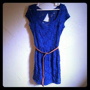 Blue lace dress w/ belt